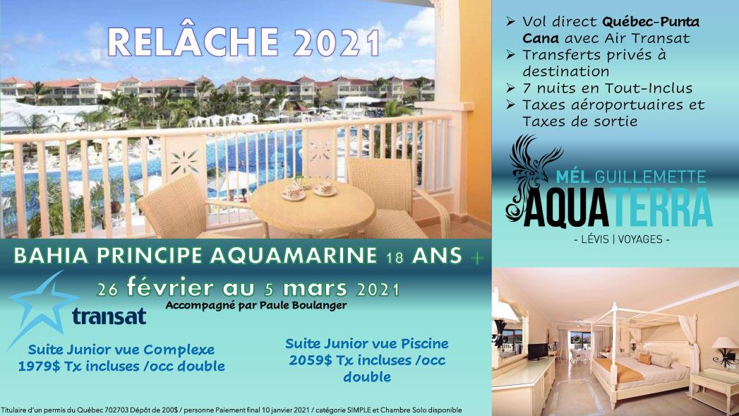 Partez en voyage au Bahia Principe Aquamarine du 26 février au 5 mars 2021 - Relâche scolaire 2021
