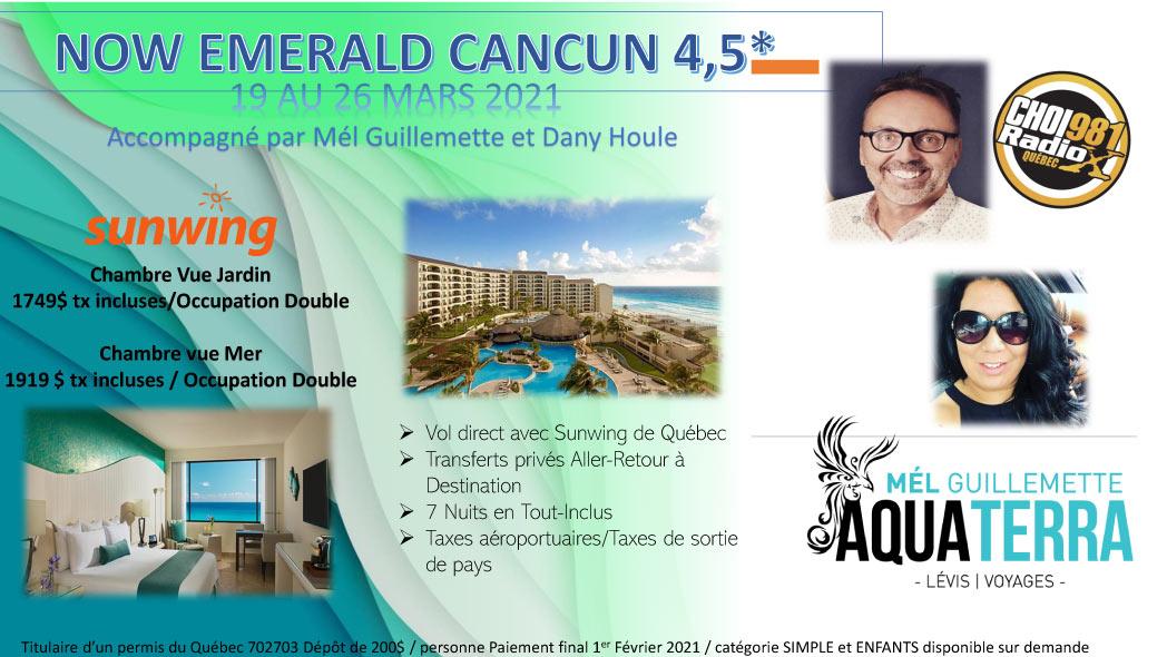 Partez en voyage au Now Emerald Cancun 4,5 étoiles du 19 au 26 mars 2021