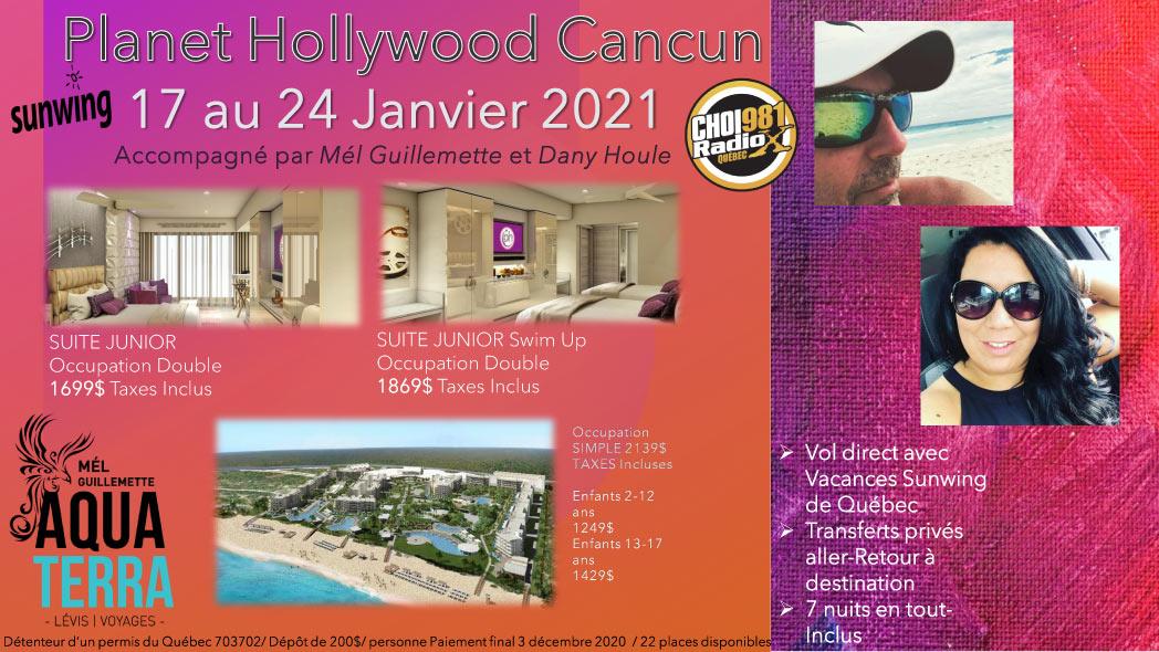 Partez en voyage au Planet Hollywood Cancun du 17 au 24 janvier 2021